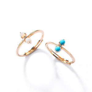 Opal Engagement Ring 2 Stone Ring Sterling Silver